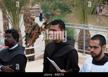 yearly catholic procession to the Jordan River. Jericho - Stock Photo