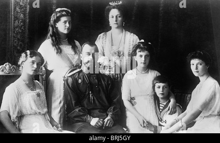 Portrait photo c1914 of Tsar Nicholas II of Russia and his family - all murdered in July 1918 following the Russian - Stock Photo
