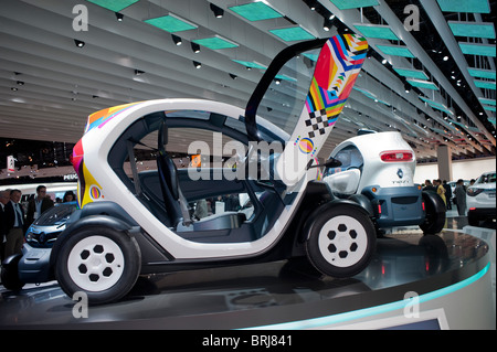 Paris, France, Paris Car Show, Renault Electric Car, Micro Car, Twizy, on Display inside - Stock Photo