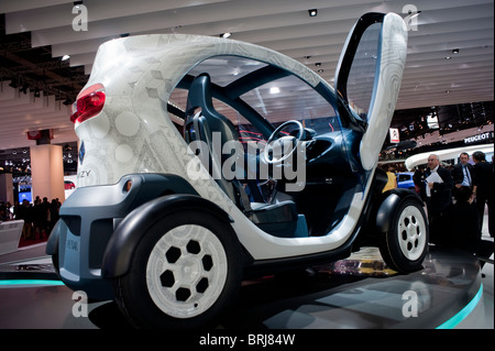 Paris, France, Paris Car Show, Renault Electric Car, Micro Car, 'Twizy', on display with open door - Stock Photo
