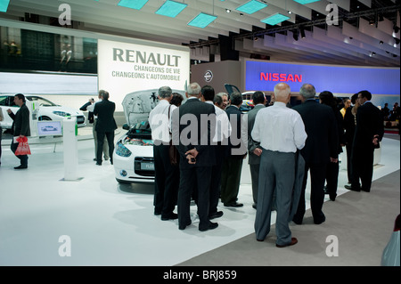 Paris, France, Paris Car Show, Businessmen Visiting Paris Car Show, Renault Car Motor - Stock Photo