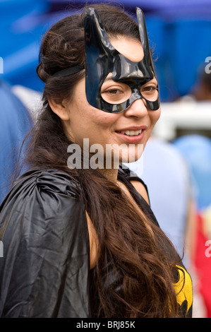 'Cat Woman' at the DreamWorks animation event to to beat the Guinness World Record for the largest 'super hero' - Stock Photo