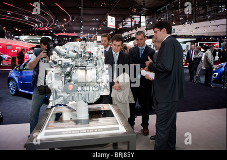 Paris, France, Businessmen Visiting Paris Car Show, Renault Car Motor - Stock Photo