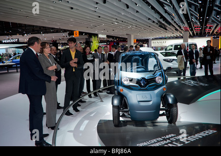 Paris, France, Businessmen Visiting 'Paris Car Show', Electric Cars, Renault Twizy Micro Cars, on Display - Stock Photo