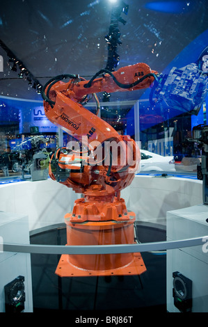 Paris, France, Paris Car Show, Ford Factory Robot, Econetic Technology, ABB - Stock Photo