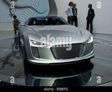 Paris, France, Businessmen Visiting Paris Car Show, with Audi 'E-Tron Spider', Concept Car, Front, on display - Stock Photo