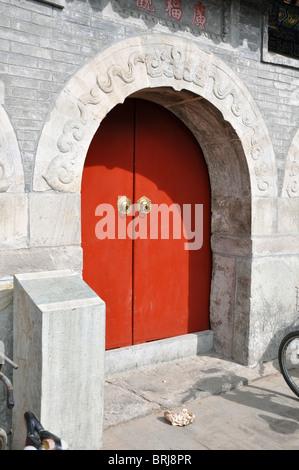Door in the Beijing Hutongs in China - Stock Photo