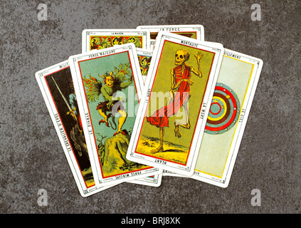 Cards from an ancient set of Tarot, used for divination. - Stock Photo