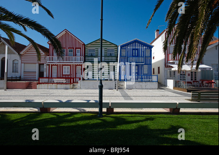 Traditional striped houses at Costa Nova, Portugal - Stock Photo