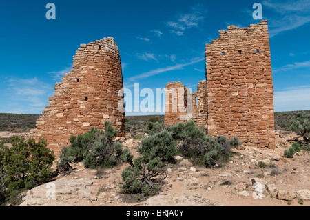 Hovenweep Castle ruins, Square Tower Unit, Little Ruin Canyon, Hovenweep National Monument east of Blanding, Utah. - Stock Photo