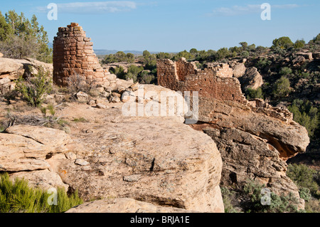 Tower Point ruins, Square Tower Unit, Little Ruin Canyon, Hovenweep National Monument east of Blanding, Utah. - Stock Photo