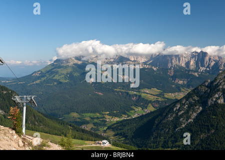 summer view of San Pellegrino Valley with Monzoni moumtain in val di Fassa, Italian dolomites. - Stock Photo