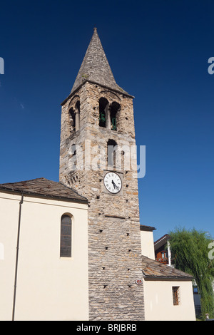 church with roman tower in Pre Saint Didier, Aosta Valley, Italy - Stock Photo