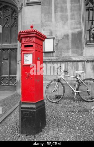 Victorian pillar box in mono colour Cambridge England - Stock Photo