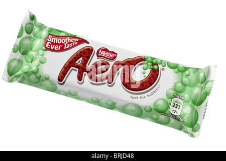 Bar of Nestle Mint Aero chocolate bar - Stock Photo