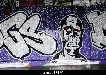 Graffiti under the Southbank Centre, London, England, Uk - Stock Photo