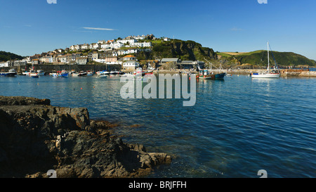 Sailing boats in Mevagissey harbour, Cornwall, England - Stock Photo