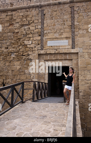 Paphos Castle in the port of Nea Pafos. - Stock Photo