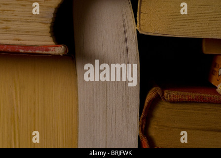View of stacked books close up - Stock Photo