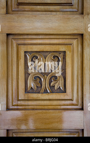 Wonderful Flower Engraving In Wooden Christian Church Door Square Symmetrical  Decoration Four Leaf Symbol Brown Art Christianity