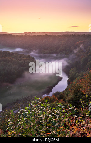 A misty autumn morning over the River Wye as seen from Symond's Yat in Gloucestershire - Stock Photo