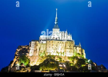 Le Mont Saint Michel,  Dusk,  Normandy, France - Stock Photo