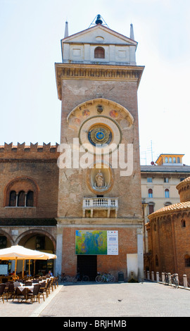 Palazzo della Ragione Torre dell'Orologio (Clock Tower) with it's Astronomical Clock, Mantova, Lombardy Italy - Stock Photo