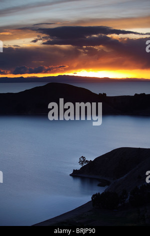 sunset over Lake Titicaca from the Isla del Sol, Bolivia - Stock Photo