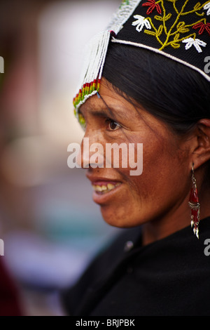 a woman at a weaving school in Sucre, Bolivia - Stock Photo