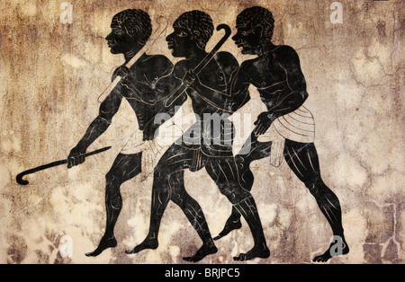 three hunters in primitive style looks like mural painting - Stock Photo