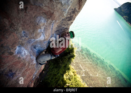 Strained male climber looks to his next move on a limestone beach cliff in Thailand. - Stock Photo