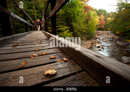 Low angle perspective of one man hiking across a wooden bridge with a stream and fall leaves in view. - Stock Photo