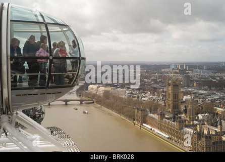 A birds eye view over the Thames of the Palace of Westminster (Houses of Parliament) and Westminster from the London - Stock Photo