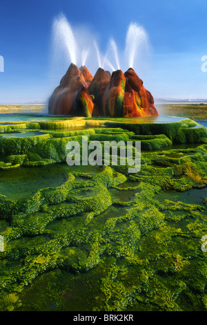 The continuous Fly Geyser  in the Black Rock Desert of Nevada, USA - Stock Photo