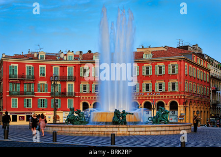 Fountain at Place Massena in Nice, France - Stock Photo