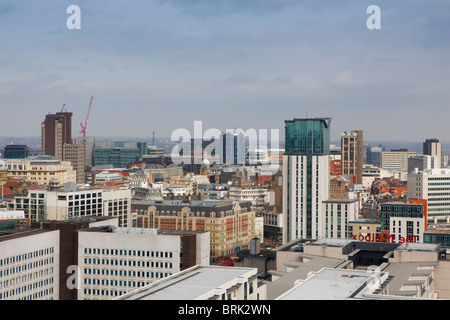 Aerial view of the Mailbox and Birmingham City in the background. View from the Cube building. - Stock Photo