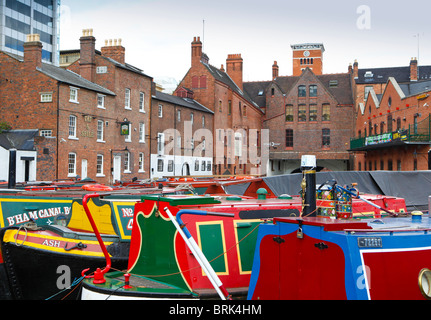 Gas Street Basin canal network in Birmingham, West Midlands, England, UK - Stock Photo