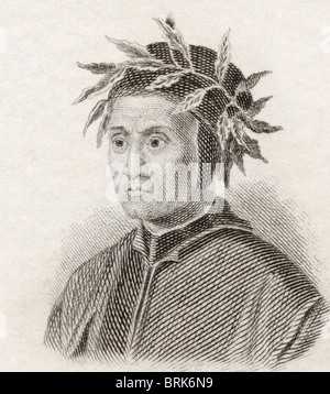 Dante Alighieri, c.1265 to 1321. Italian poet of the Middle Ages. - Stock Photo