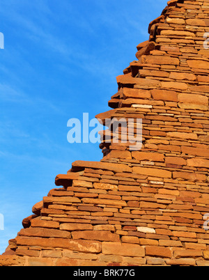 Wall detail in the ancient Pueblo Bonito village in Chaco Canyon, New Mexico, USA - Stock Photo