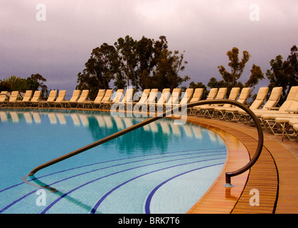 Graphic image of swimming pool at Pelican Hill Resort,  Newport Beach, California - Stock Photo
