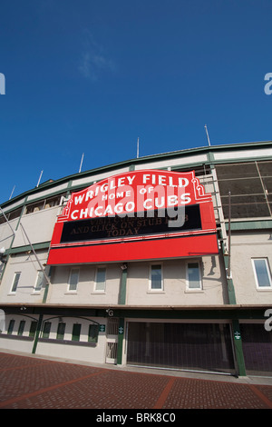 Wrigley Field stadium home of the Chicago Cubs Major League Baseball Team in Chicago Illinois USA - Stock Photo