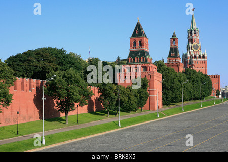 The Savior Tower (1491) and various other towers of the Kremlin in Moscow, Russia - Stock Photo