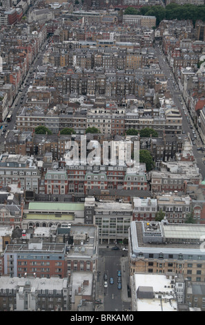 Aerial view (approx looking west) of packed buildings in central London, UK.  (Clipstone Street at the bottom) - Stock Photo