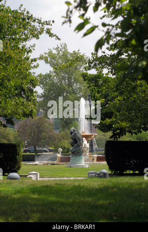 Fountain in park near Wade Lagoon and the Cleveland Museum of Art - Stock Photo