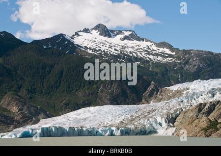 Panoramic view Mendenhall Glacier near Juneau Alaska USA - Stock Photo