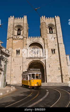 Number 28 tram and Sé Cathedral Lisbon Portugal - Stock Photo