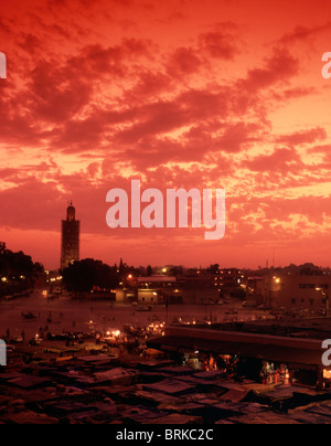 Djemma el Fna square and food courts Marrakech, Morrocco - Stock Photo