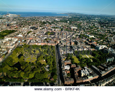 Aerial view of Dublin, looking south east over St Stephen's Green - Stock Photo