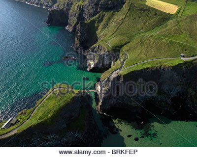 Aerial view of Carrick-a-rede Rope Bridge on the north Antrim coast - Stock Photo