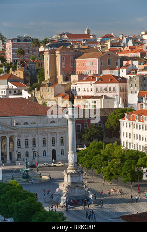 Aerial view to Rossio square Lisbon Portugal - Stock Photo